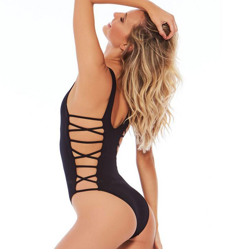 2017 new sexy double side straps swimsuit retro solid bandage one piece maillot de bain femme. Black Bedroom Furniture Sets. Home Design Ideas