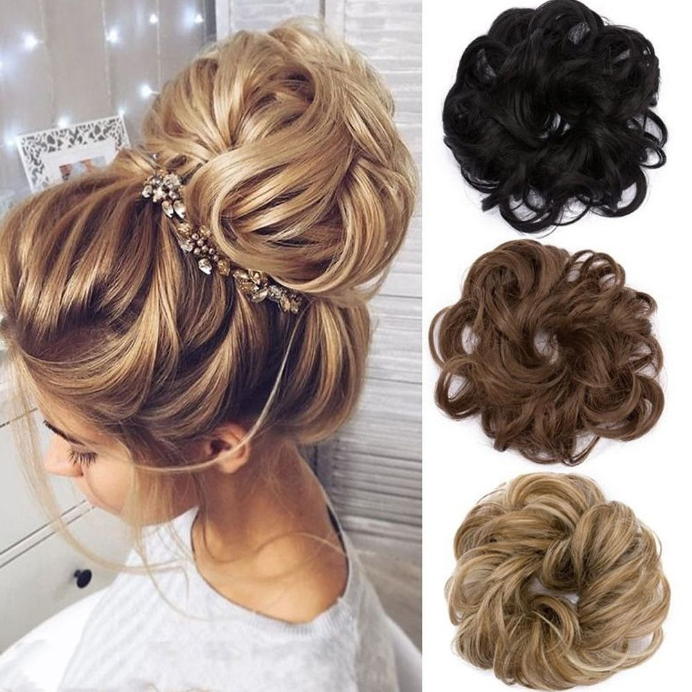 Leader Of Sales Curly Messy Bun Hair Piece Hair Scrunchie Fake Natural Look Extensions Hairpiece Hair Styling Accessories