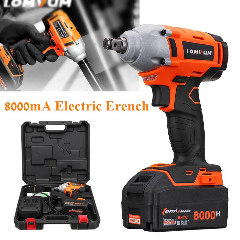 все цены на Cordless Electric Impact Wrench Drill 320N/m 20V 8000mAh Battery Lithium-ion Brushless Power Tool Nut High Torque Wrench Set онлайн