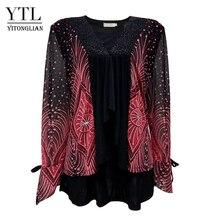 Yitonglian feminino plus size cardigan vintage v neck laço floral impressão retalhos blusa manga longa túnica topo 5xl 6xl 7xl 8xl h020