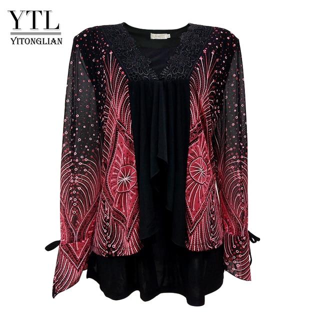 Yitonglian kadın artı boyutu hırka Vintage V boyun dantel çiçek baskı Patchwork bluz uzun kollu tunik üst 5xl 6xl 7xl 8xl H020