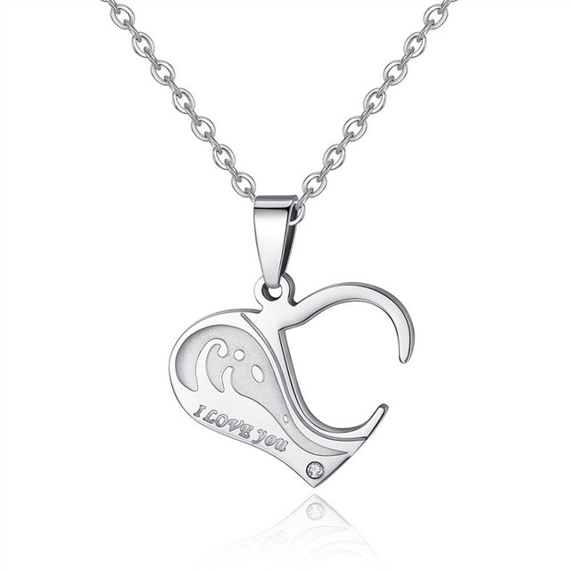 Hot sell personalized Stainless Steel Heart Shape Puzzle  Couple Pendant Engagement Necklace for valentines romantic gift 2
