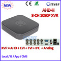 4 Canales DVR 1080 P Híbrido AHDVR 4ch para AHD-H CVI TVI cámara P2P IP ONVIF Red 8CH mini NVR H.264 Cámara de 2MP IP