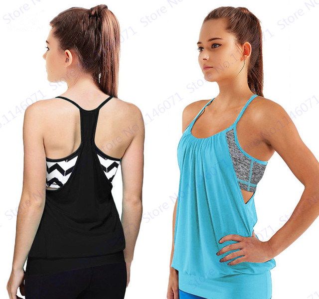 f343f6c807573 Black Sexy Halter Yoga Shirts With Built-in Bra Blue Sleeveless Sports  Running T-Shirts Women s Burnout Fitness Gym Tanks Tops