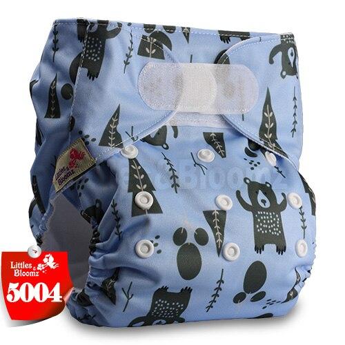 [Littles&Bloomz] Детские Моющиеся Многоразовые, настоящая стандартная ткань, застежка-липучка, карман для подгузников, пеленки, обертывание, подходит для рождения в горшке - Цвет: 5004