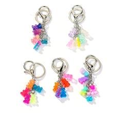1PC  Gummy Bear Keychain Flatback Resin Pendant Charms Resin Keyring for woman jewelry