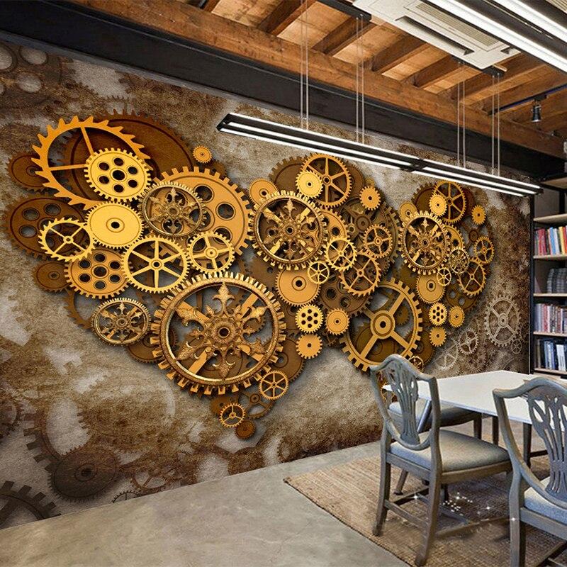 Personalized Customization Cool Metal Gear 3D Wallpaper Retro Cafe Bar Restaurant Relief Mural Moisture-Proof Murales De Pared