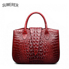 SUWERER 2019 New women Genuine Leather bags Fashion luxury Crocodile pattern designer leather handbags