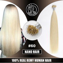 """Микро бусы волосы на капсуле настоящие Реми Кератин нано-кольца для волос наращивание человеческих волос 1""""-22"""" Платина светлый блонд#60 40 г"""