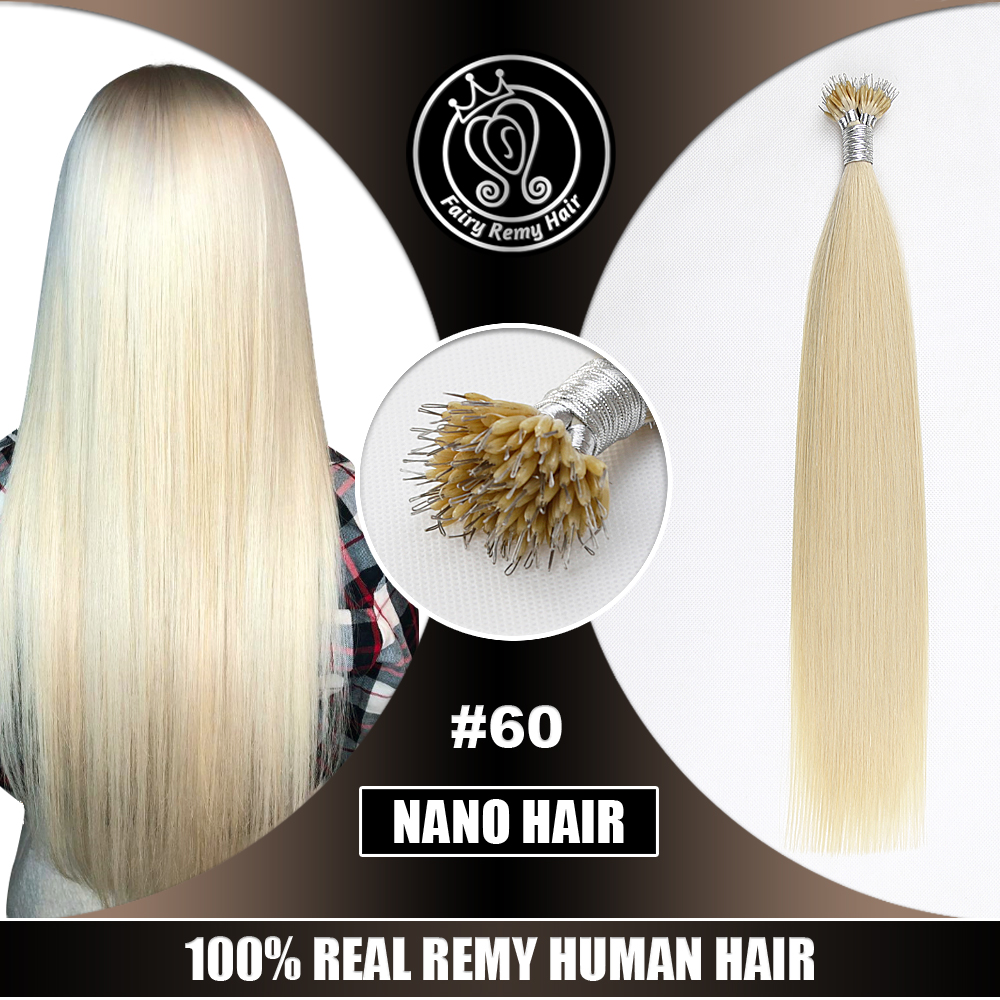 "Micro Beads Hair On Capsule Real Remy Keratin Nano Ring Hair Extensions Human Hair 16""-22"" Platinum Blonde Highlight #60 40g"