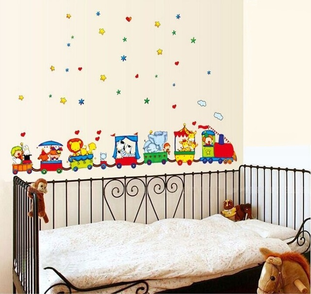 Free Shipping Animal Circus Train Children DIY Removable Wall Stickers  Parlor Kids Bedroom Home House Decoration
