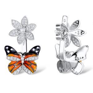 Image 4 - Santuzza シルバー蝶のイヤリング 925 純銀製のスタッドのイヤリングシルバー 925 キュービックジルコニア brincos ジュエリーエナメル