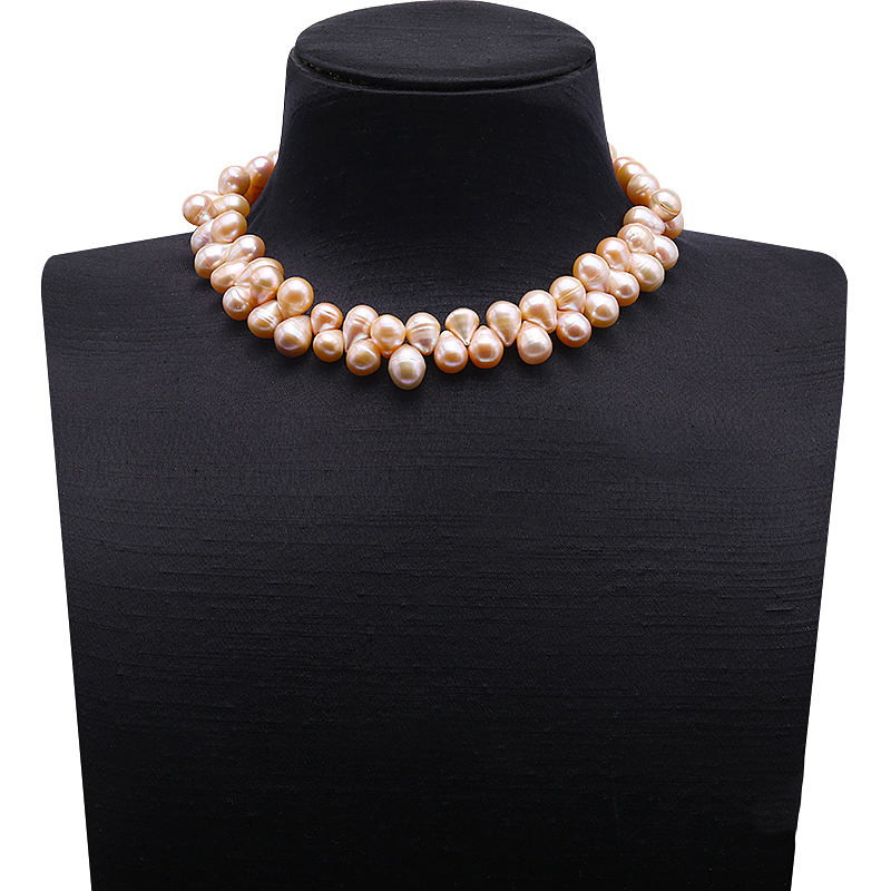 купить JYX Special 10-10.5mm Pink Drop-shaped Baroque Freshwater Pearl Necklace 17 Inches недорого