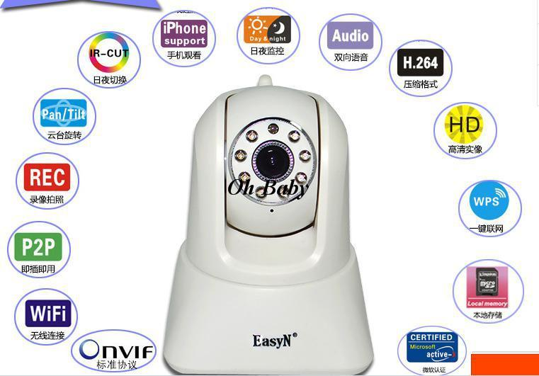 ФОТО Easy-N IP Camera with 1 Mega pixel,intercom system wifi  indoor use 32G local memory two way Intercom cctv camera
