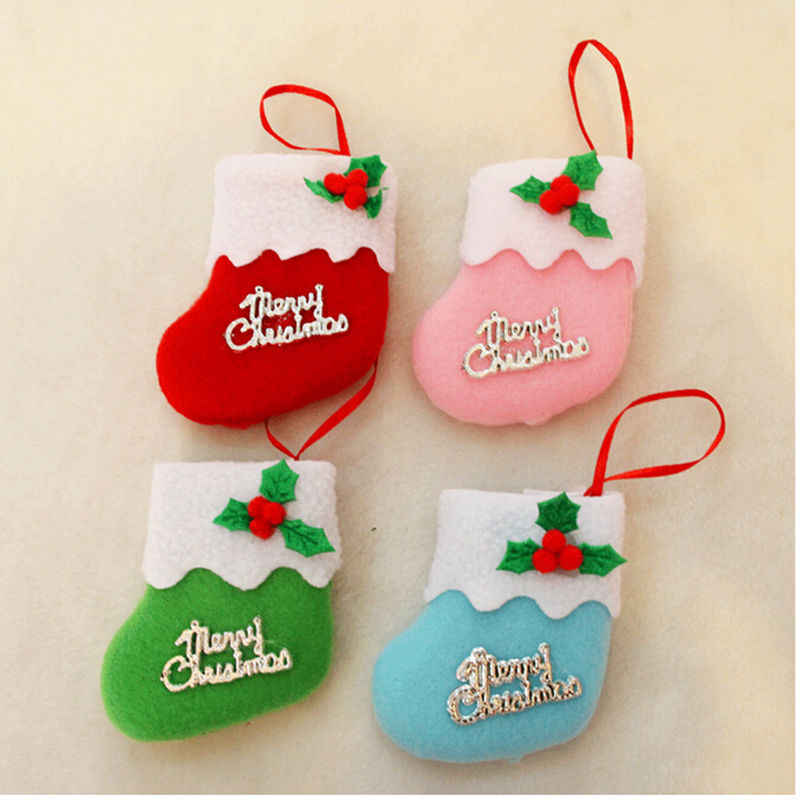 1pc 8*8cm Merry Christams Stockings New Year Candy Bag Stocking Hanging Christmas Tree Decoration Christmas Ornament