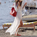 2017 Summer Beach Dress White Chiffon Kaftan Beach Kimono Beachwear Long Dress Bathing Suit Cover Ups Bikini Sarong