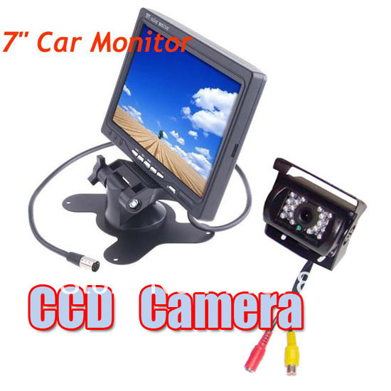 "7"" LCD Monitor Car Rearview Kit for Long Bus Truck + Waterproof 18 IR LED CCD Reversing Camera with 10m cable Free Shipping"