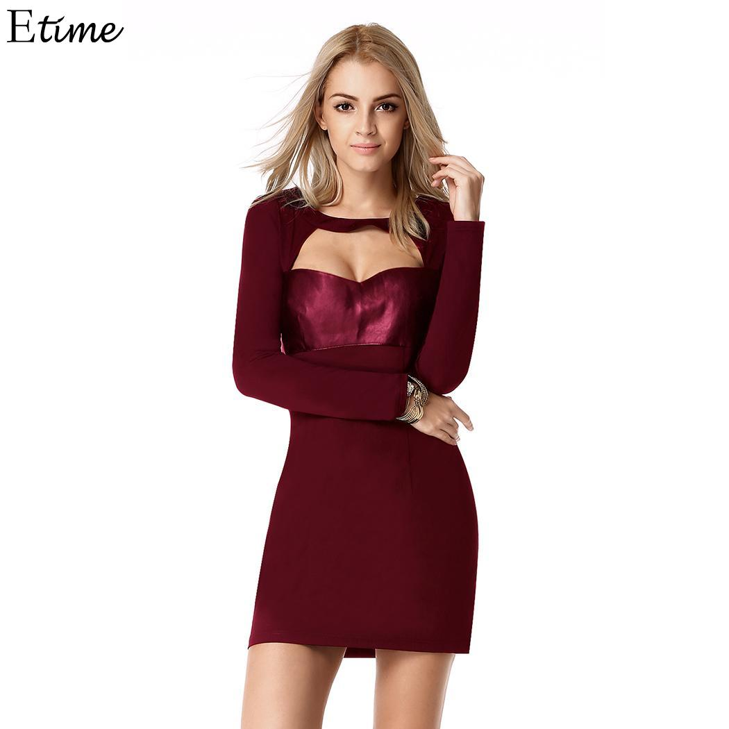 Waist Stylish Women's Hip Out Slim Height 172cm 88cm Hollow Sexy Dress Patchwork 85 Fashion Party Bust 60 O-Neck Casual Lady