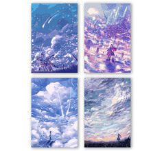 DIY colorings pictures by numbers with colors Cloudy blue landscape illustration picture drawing painting by numbers framed Home цена и фото