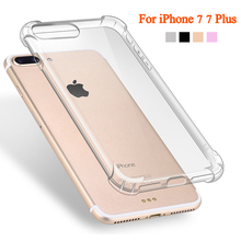 (10 pieces/lot) Transparent Cover Case For iPhone 7 7 Plus Back Battery Clear Thin Soft TPU Mobile Phone Case Back Cover