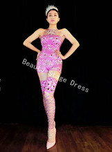 цены Sexy Sparkly Rhinestones Pink Jumpsuit Birthday Celebrate Outfit Costume Female Singer Bling Bodysuit Performance Dance Wear