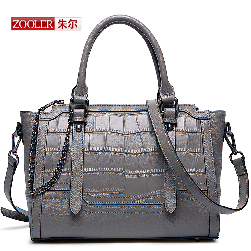 ZOOLER 2017 Genuine leather bag women messenger bags handbags women famous brands Crocodile pattern shoulder ladies bags #T-6185 famous brands top quality women genuine leather bag fashion women handbags shoulder bag rivets owl pattern messenger bags