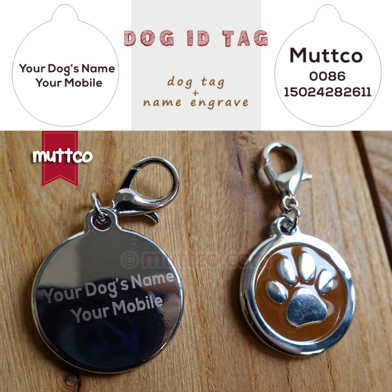Free ship laser lettering 30mm paw print dog tags dog id tags for font b pets