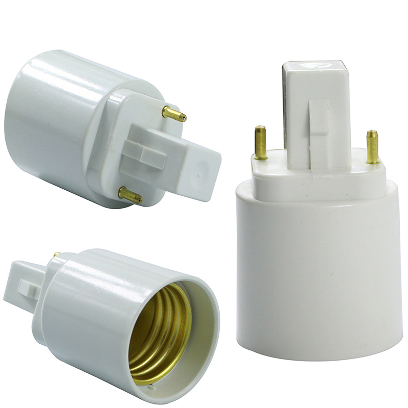 g24 til e27 Retardant PBT bombilla ledningsadapterkonverter Hvid e27 til g24 pære Sokkel Base holder adapter 2pin AC85-265V LEEDSUN