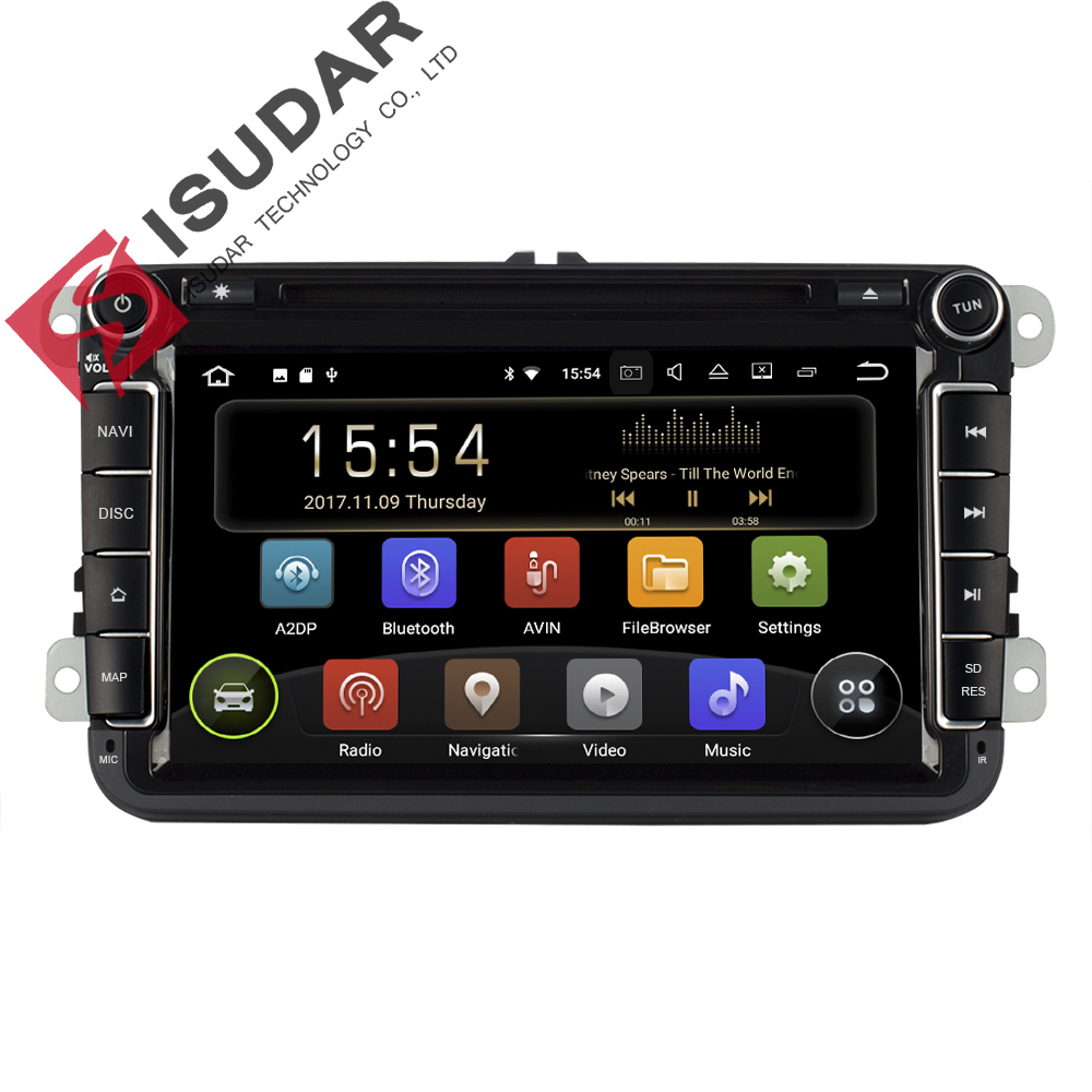 Isudar Car Multimedia Player Android 8.1 2 Din Auto DVD For Volkswagen/VW/Passat/POLO/GOLF/CC/Skoda/Octavia/Seat/Leon GPS Radio funrover android 8 0 two 2 din 9 inch car dvd player stereo for vw volkswagen polo golf skoda octavia seat radio wifi usb no dvd