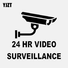 YJZT 13,3 CM * 11,8 CM diversión 24 HR VIDEO vigilancia vinilo negro/coche plateado pegatina C22-0895