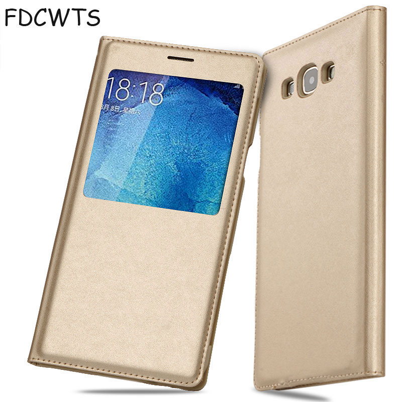 Smart View Flip Cover Leather Wallet Phone <font><b>Case</b></font> For Samsung Galaxy A5 2015 A7 GalaxyA5 A 5 7 SM A500 A5Case <font><b>A700</b></font> A700F SM-A500F image