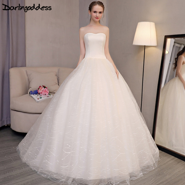Darlingoddess Robe De Mariage 2017 Wedding Dress Princess Bling Lace Ball Gown Simple Cheap Dresses