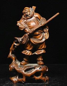 wedding decoration Chinese Myth Boxwood Wood Carved Exorcism God ZhongKui Hold Sword Statue