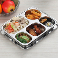 4 5 Sections Stainless Steel Dish Plate With Lid Divided Rectangle Lunchbox Food Server Student Lunch