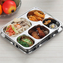 4/5 Sections Stainless Steel Dish Plate with Lid Divided Rectangle Lunchbox Food Server Student Lunch Tray Kitchen Accessories