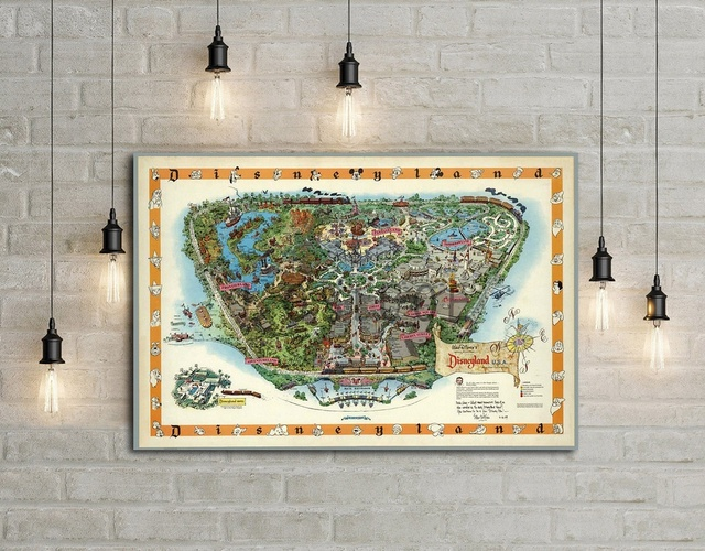 United States Disneyland Hand Drawn Map Art Silk Poster Home Decor 12x18 24x36inch