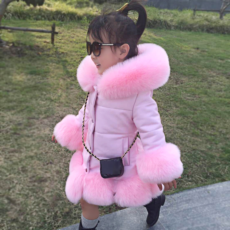 2018 Winter Kids Girls PU Leather Patchwork Faux Fox Fur Collar Down Jacket Coat Children Thick