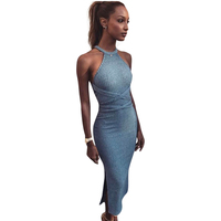 Cocktail Party Mini Dress Split Halter Lake Blue Women Dresses Bandage Slim Kintted Summer Dress Vintage