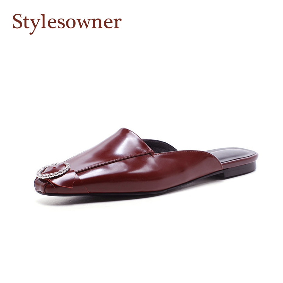 Stylesowner 2018 New Arrival Chic Lady Baotou Slipper Shoe Ankle Lace Up Crystal Buckle Toe Fashionable Sandalias MulesStylesowner 2018 New Arrival Chic Lady Baotou Slipper Shoe Ankle Lace Up Crystal Buckle Toe Fashionable Sandalias Mules