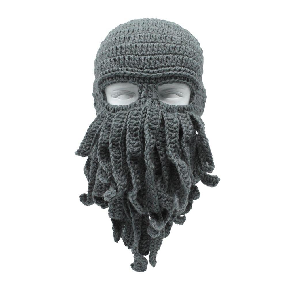 1 StÜck Kreative Lustige Octopus Hat Männer Fashion Ski Tintenfisch Hut Maske Beard Octopus Squid Kappe Wind Ski Wolle Stricken Cosplay Beanie Cap Blut NäHren Und Geist Einstellen