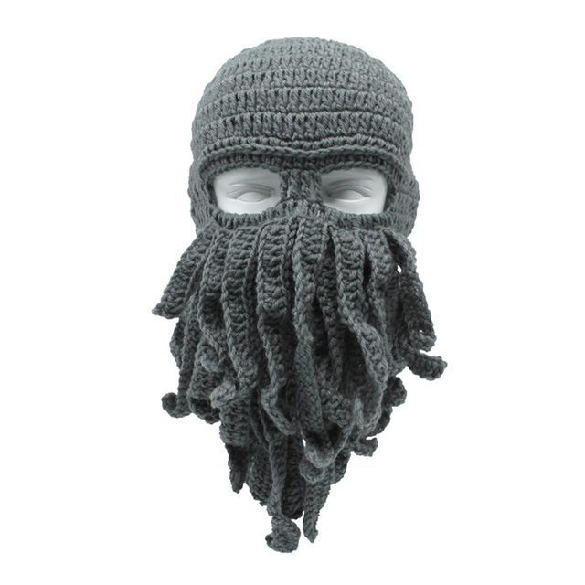 Creative Funny Octopus Knit Hat Men Fashion Ski Squid Hats Novelty Mask  Beard Squid Cap Wind Ski Cosplay Party Play Beanie Cap-in Skullies    Beanies from ... 31af4063429