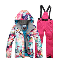 Fashion Bright Color Ski Suit Women Outdoor Hiking Suits Ski Clothing Women Snowboard Monoboard Clothes XS