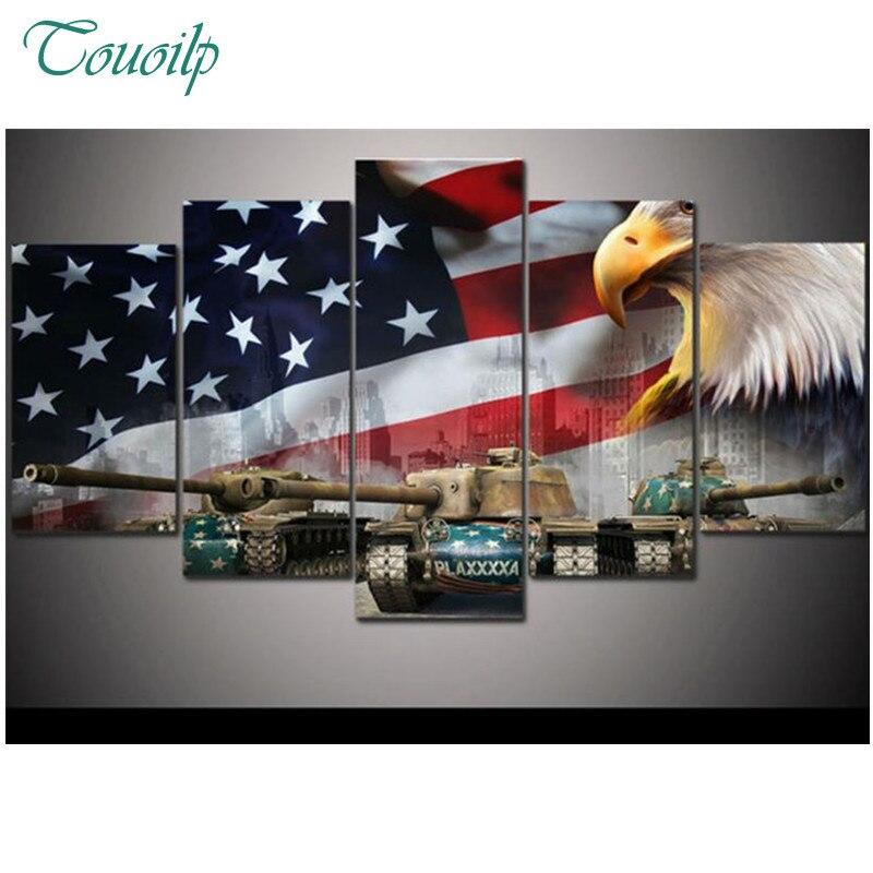 Американский флаг и Орел, танки, diy 5d алмазная картина, наборы крестиков, полностью квадратная Алмазная вышивка, животные, мозаика, живопись