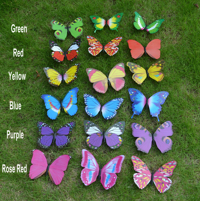 10pcs 15cm 6 Colors 3D PVC Butterfly Fridge Magnet Sticker Note Holder Home Decor Child Toy Business Promotion Gift