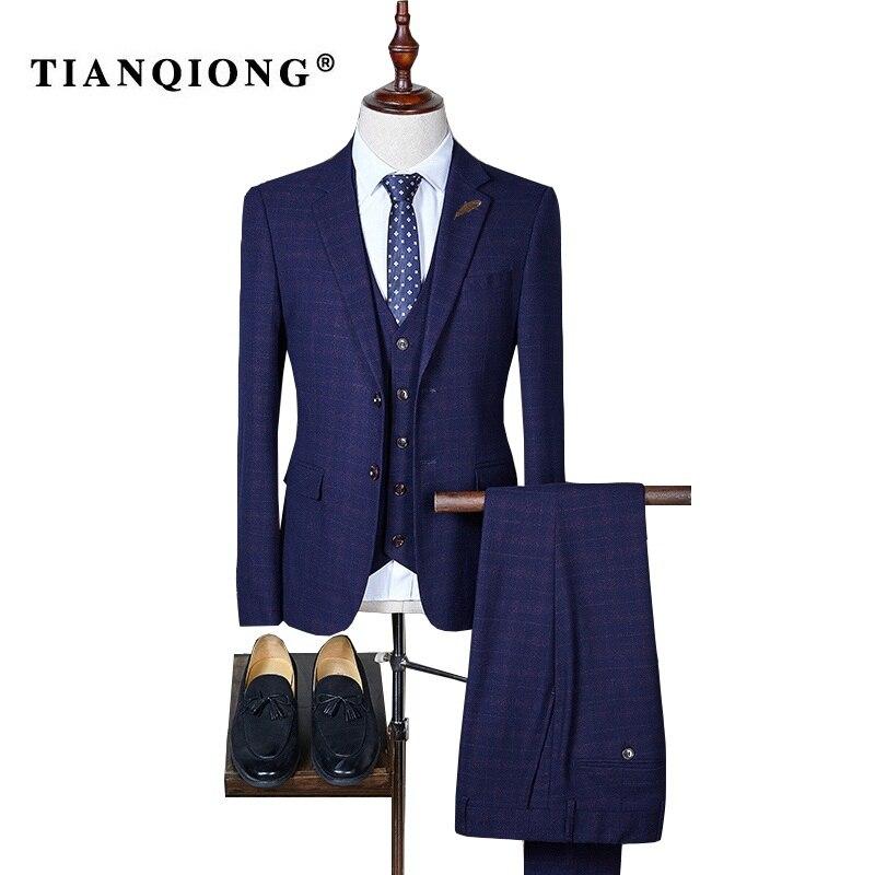 TIAN QIONG Suit Men 2017 New Arrival Slim Fit Plaid Suits for Men Luxury 3 Piece Mens Suits Wedding Groom Black Purple Navy