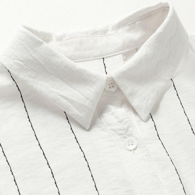 [EAM] 2018 Осень Новая мода черный, белый цвет в полоску отложной воротник с рукавом три четверти Irregualer рубашка женская блузка YC398