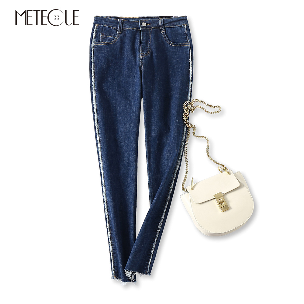 Side Tassel Striped Stitching Hem Tassel Washed Stretch Slim Pencil Pants Hot Women Jeans Casual Spring