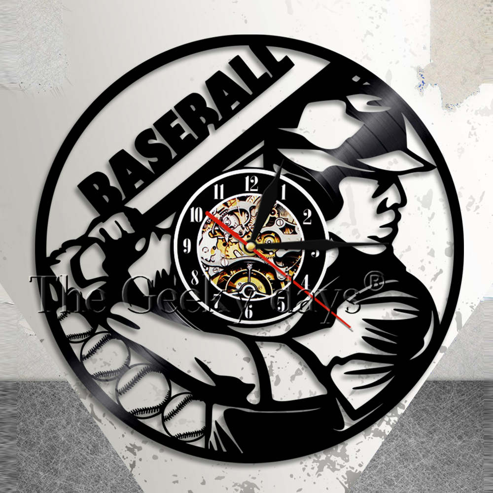 Baseball Clock Wall Decor Base Ball Team Player Vinyl ...