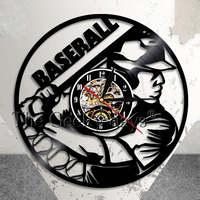 Baseball Zegar Dekoracje Ścienne Piłkę Podstawy Team Player Vinyl Record Zegar ścienny Baseball Softball Rekordu Winylu Ściany Fanem Pomysł Na Prezent Art
