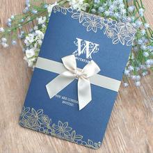 20pcs/lot Luxury Blue Invitation Cards Pearl Paper Folding Wedding Invitation with Blank Inner Page,Envelope карты оракул blue angel the halloween oracle cards page 3 page 6